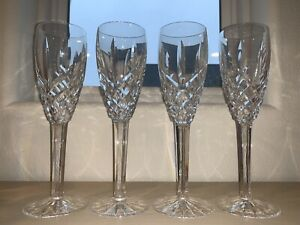 "4 Waterford Crystal Champagne Flutes Castlemaine Pattern 8 3/8"" Tall Authentic"