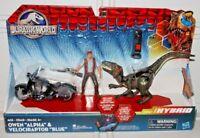 Jurassic World Dino Hybrid Owen Alpha Velociraptor Blue Raptor Action Figure Set