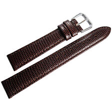 17mm deBeer Mens Brown Lizard-Grain Leather Watch Band Strap