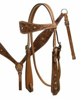 Western Horse Tooled Leather Tack Set Bridle Headstall w/ Reins + Breast Collar
