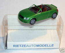MICRO RIETZE HO 1/87 AUDI TT ROADSTER VERT CLAIR METAL avec rétroviseurs in box