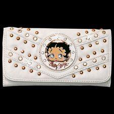 Betty Boop Rhinestone Wallet by Sharon Purse Handbag White KFW-4004