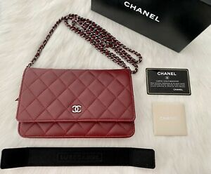 CHANEL CLASSIC WALLET ON CHAIN (WOC) IN BURGUNDY LAMBSKIN WITH DARK SHW RRP$4190