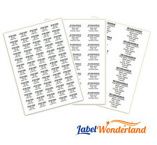 Personalised Self Adhesive Pre Printed Sticky Return Address Labels on A4 sheets