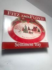 Fitz and Floyd Sentiment Tray HOME WARMS THE HEART Holiday Christmas - NEW