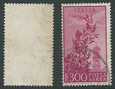 1948-52 ITALIA USATO POSTA AEREA CAMPIDOGLIO 300 LIRE FILIGRANA LETTERA - U22-7