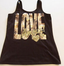 JUSTICE GIRLS BROWN GOLD LEOPARD PRINT TANKS TOP LOVE AMORE SIZE 18 NWTS