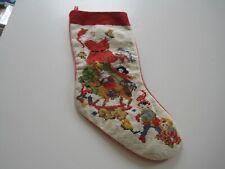 "20.5"" Vintage Needlepoint Christmas Stocking Santa Workshop Elves"