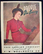 Original 1938 F.W. Woolworth Prevue DuBarry Fashions Free Fashion Forecast
