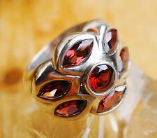 Extrem Massiv Silberring 53 Handarbeit Granat Breit Rot Ring Silber Verspielt