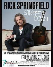 "RICK SPRINGFIELD ""STRIPPED DOWN"" 2016 OKLAHOMA CONCERT TOUR POSTER - Rock Music"