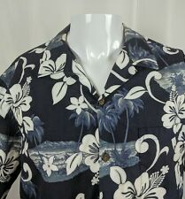 XL RJC Aloha Hawaiian Shirt Blue White Hibiscus Palm Tree Beach Scene