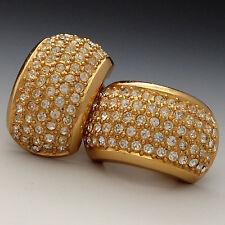 VINTAGE CHRISTIAN DIOR PAVE CRYSTAL RHINESTONE GOLD PLATED HALF HOOP EARRINGS