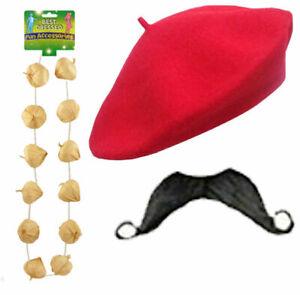 Men's Belgium Detective Red Beret Hat Moustache Garlic Necklace 3Pc Set