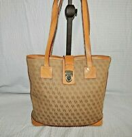 Dooney and Bourke Handbag Purse Bucket DB Logo Shoulder Bag Khaki Tan Leather