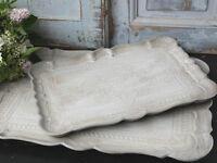 CHIC ANTIQUE, 1 Florentiner Tablett,Tray,Sand antikisiert,Shabby,Brocante, 40 cm
