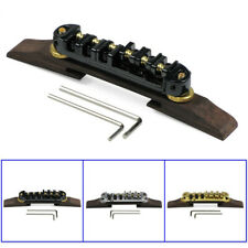 Metal Roller Saddles Tune-O-Matic Bridge Rosewood Base for Archtop Jazz Guitar