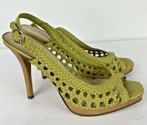 Nine West Size 7.5 Slingback Open Toe Pumps Sandals Heels Green Woven