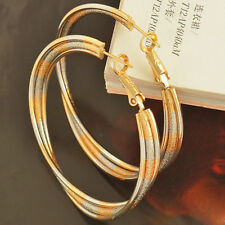 9CT 9K GOLD SILVER FILLED LADY GIRLS MENS SOLID HOOP NEW LARGE EARRINGS WOMENS