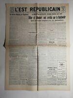 N495 La Une Du Journal L'est républicain 10 novembre 1923 Hitler arrêté