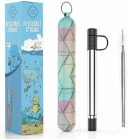 Reusable Straws I Stainless Steel Straws with Silicone Tips