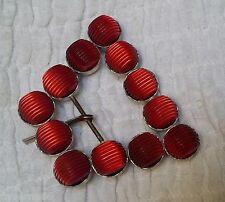 ANCIENNE BOUCLE DE CEINTURE perles lucite rouge à reflets & métal gris 7.5 cm C1