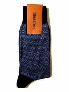 Missoni Men's Muted Zig Zag Navy Blue Cotton Italy Soft Socks Size S M L NEW