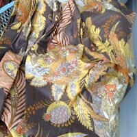 Vtg Bloomcraft Floral Curtain Panel Fabric Screen Print Brown Yellow Pleated 60s
