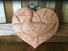 Vtg Heart Shaped Terra Cotta Clay Jello Mold Duck Farm Design Wall Decor Orange