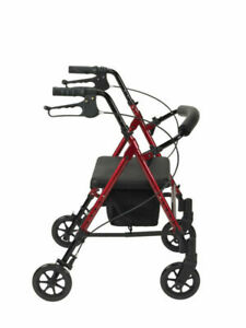 """Drive Medical Adjustable Height Rollator Rolling Walker with 6"""" Wheels, Red"""
