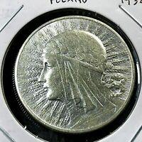 1932 POLAND  SILVER 10 ZLOTE HIGH GRADE COIN