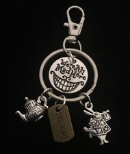 Alice in Wonderland Keyring Mad Hatter tea party We're All Mad Here Cheshire Cat