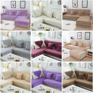 Solid Color Sofa Cover Anti Slip Slipcover Quilted Cosy Pet Mattress Protectors