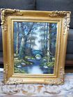 Vintage Original Durr Oil Painting on Canvas, Signed. Beautiful Spring Forest