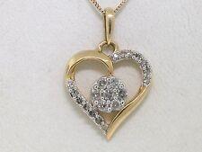 Diamant Brillant Anhänger Herz Gelbgold Gold 28 Diamanten 0,25ct   mit Kette