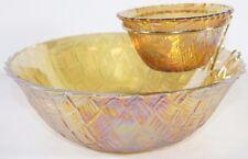 Vintage Indiana Glass Iridescent Golden Tone Chip And Dip Set Basket Weave Box