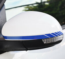 2pcs Car Rear View Side Mirror Carbon Fiber 5D Blue Stripe Vinyl Sticker Decal