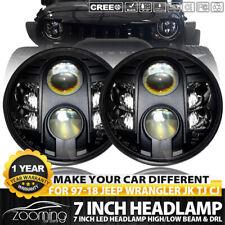 2x LED Projector Black Headlamps Headlights Xenon HID for Jeep JK Kenworth T2000
