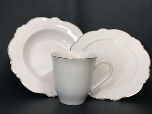 Godinger 12 Piece Porcelain Dinnerware Set Service for 4 White W/ Gold Rim