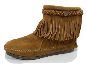 Minnetonka Fringe Leather Zip Ankle Bootie Womens 7.5