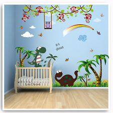 Dinosaur Wall Stickers Decals Animal Jungle Owl Monkey Nursery Baby Kids Room
