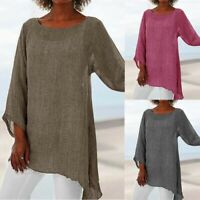 Plus Shirt T Long Casual Tunic Ladies Women Size Sleeve Baggy Kaftan Linen Tops