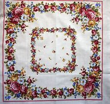 """NEW lightweight cotton floral cushion/quilt panel 14""""x14"""" pink/ivory"""