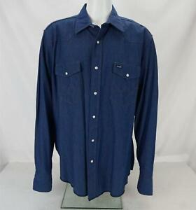 Wrangler Western Denim Pearl Snap Button Down Shirt Blue Men's X-Large
