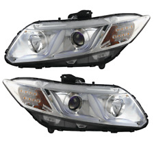 Winjet 2012-2015 Honda Civic Coupe/Sedan Projector Headlights - Chrome/Clear