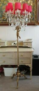 Vintage Brass and Crystal Floor Lamp Cherub Detail