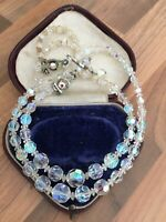 Vintage 1950s Sparkly Aurora Borealis Glass Double Strand Necklace