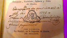 HISTORIA DE LA VIDA DEL HOMBRE, A. D. LORENZO HERVAS 1789 (INQUISICION CENSURA)