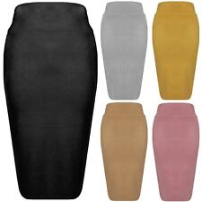 New Faux Suede High Waisted Back Split Bodycon Midi Pencil Stretch Party Skirt