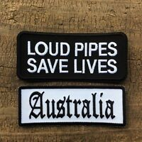 Biker Leather Vest Jacket Patch  AUSTRALIA AND LOUD PIPES SAVE LIVES PATCHES